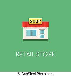 tienda, plano, estilo, signboard., pequeño, vector, vista, frente, icon., tienda al por menor, design.