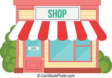 tienda, plano, icono