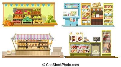 tienda, productos, interiores, alimento, cabinas, o,...
