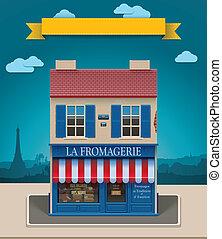 tienda, queso, xxl, vector, icono