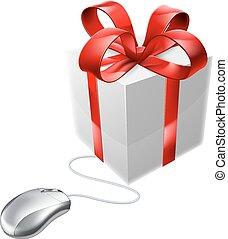 tienda, ratón, regalo, presente, en línea