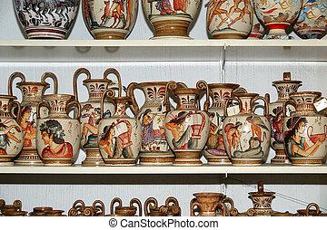 tienda, recuerdo, tradicional, griego, floreros, cerámica
