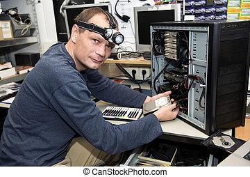 tienda, reparación, computadora