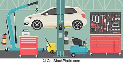 tienda, reparación, interior, coche