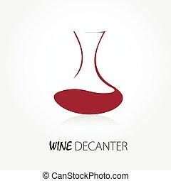 tienda, resumen, señal, jarra, logotipo, vino., vino rojo