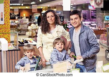 tienda, retrato, familia