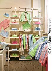 tienda, ropa, niño