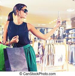 tienda, ropa, selfie