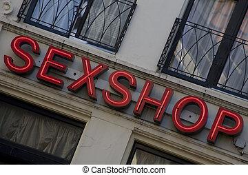 tienda, sexo, señal