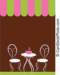 tienda, sillas, tabla, dos, café