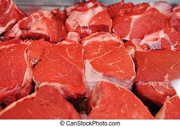 tienda, surtido, carne, carnicero