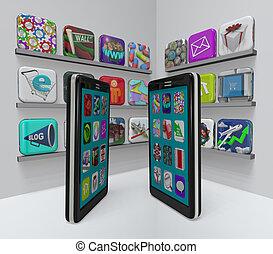 tienda, teléfonos, app, -, aplicaciones, compra, elegante