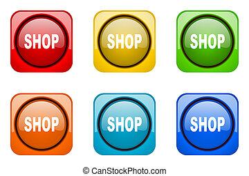 tienda, tela, colorido, iconos