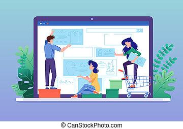 tienda, tela, crear, diseño, en línea, interfaz, store.