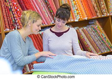 tienda, tela, mujeres