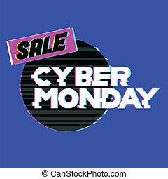 tienda, tela, shopping., lunes, concept., internet, venta, cyber, descuento, venta, descuento, en línea, store., publicidad