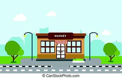 tienda, tienda, edificio, en, calle, con, árbol, y, silueta, edificio, background.scene, de, mercado, y, ciudad, con, cielo, plano de fondo, vector, ilustración