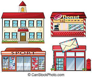 tienda, tienda, oficina, escuela, rosquilla, poste, deporte