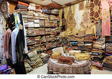 tienda, tradicional, emiratos árabes unidos, productos,...