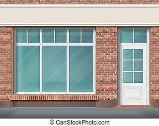 tienda, transparente, frente, ventana, grande, ladrillo