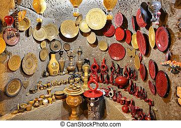 tienda, turco, recuerdo, cerámica