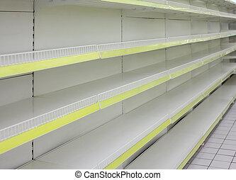 tienda, vacío, estantes