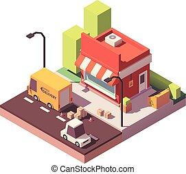 tienda, vector, bajo, poly, icono