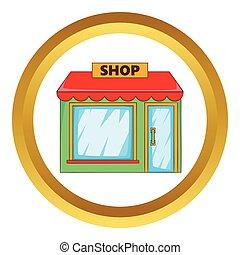 tienda, vector, icono