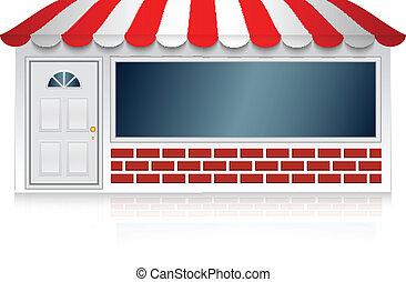 tienda, vector, ilustración