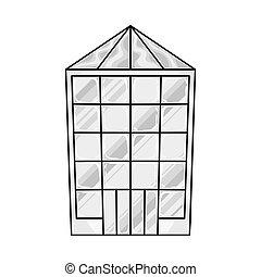 tienda, vector, signo., illustration., venta al por menor, pueblo, acción, diseño determinado