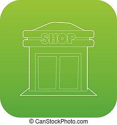 tienda, vector, verde, icono