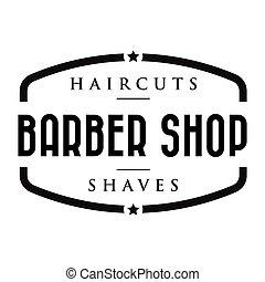 tienda, vendimia, estampilla, peluquero, logotipo
