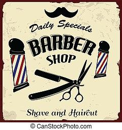 tienda, vendimia, peluquero, diseñar