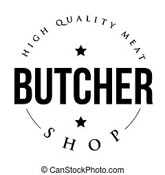 tienda, vendimia, vector, carnicero, estampilla