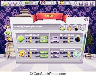 tienda, venta, game., artículos, ventana, computadora, ejemplo, boosters