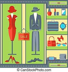 tienda, womens, bolsos, mens, ventana, trajes, vestidos, ropa, relojes