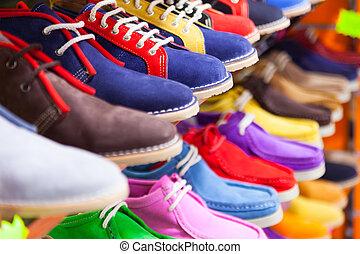 tienda, zapatos del deporte, moderno