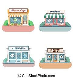 tiendas, fachada, conjunto, icons., vector, diseño, plano