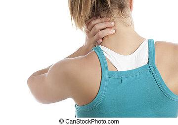 tiene, dolor, cervical, mujer, espina dorsal