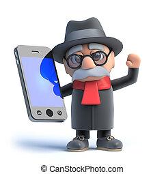 tiene, smartphone, viejo, 3d
