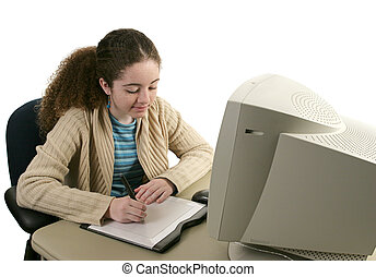tiener, 1, &, tablet, grafiek