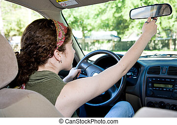 tiener, aanpassen, bestuurder, rearview spiegel