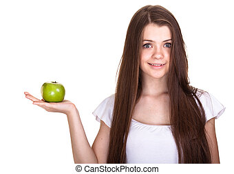 tiener, appel, meisje, vrijstaand, jonge, groen wit, glimlachen gelukkig