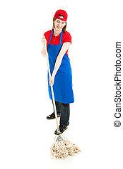 tiener, arbeider, mopping, -, volledig lichaam