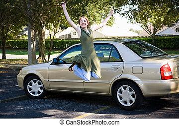 tiener, auto, springt, vreugde
