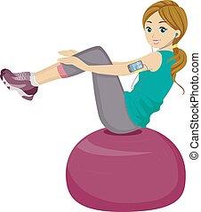 tiener, bal, werken, meisje, evenwicht, uit