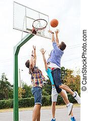 tiener, basketbal, groep, vrienden, spelend, vrolijke