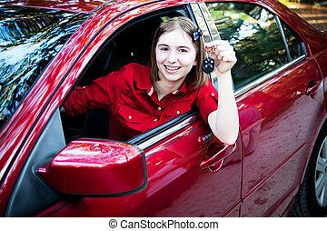 tiener, bestuurder, in, nieuwe auto