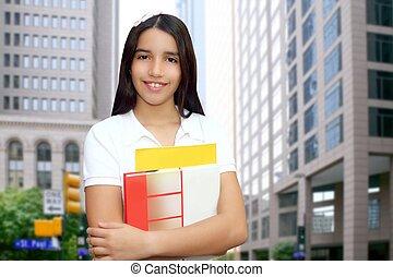 tiener, brunette, student, latijn, jonge, boekjes , vasthouden, meisje