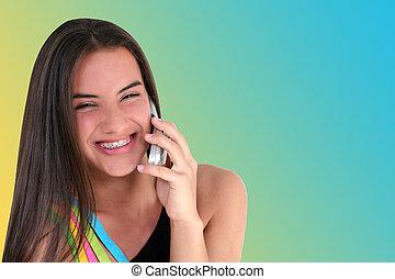 tiener, cellphone, meisje